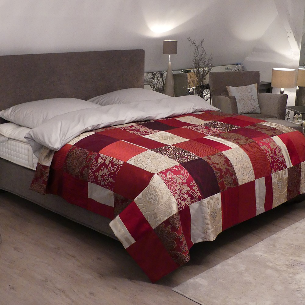 patchwork tagesdecke rot gold online kaufen zawoh. Black Bedroom Furniture Sets. Home Design Ideas